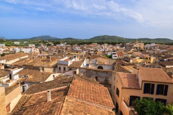 View on house roofs of Artà